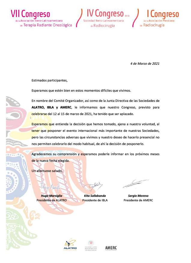Carta Aplazamiento a 2021